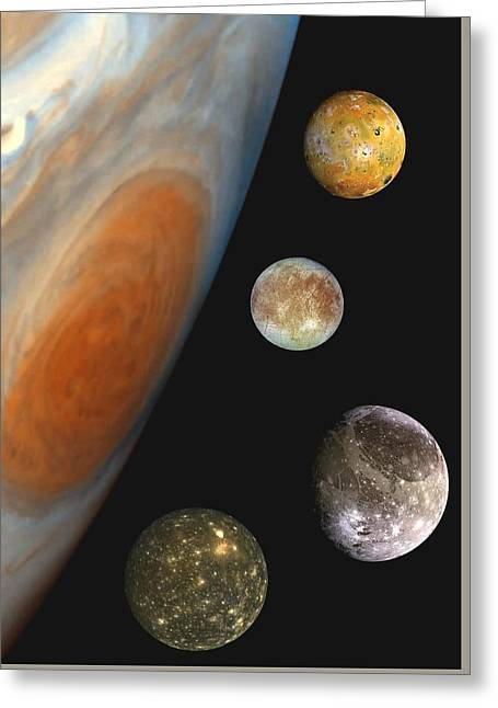 Galilean Moons Of Jupiter Greeting Card
