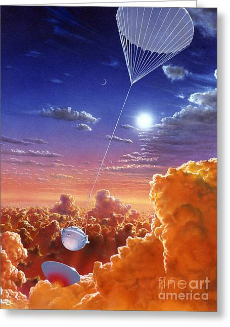 Galileo Space Probe Greeting Card by Lionel Bret and Photo Researchers