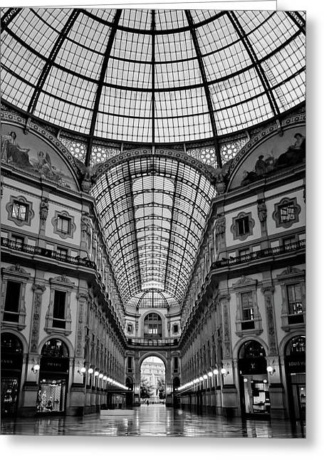 Galleria Milan Italy Bw Greeting Card by Joan Carroll