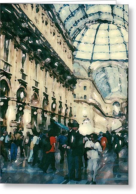 Galleria Milan Greeting Card by Linda Scharck