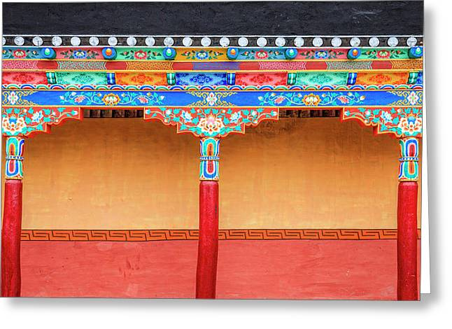 Greeting Card featuring the photograph Gallery In A Buddhist Monastery by Alexey Stiop