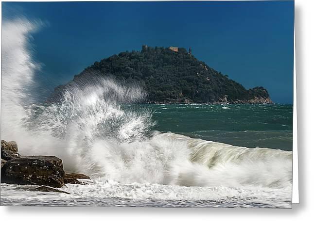 Gallinara Island Seastorm - Mareggiata All'isola Gallinara Greeting Card