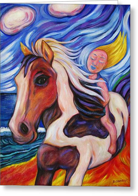 Greeting Card featuring the painting Gallop Along The Beach by Dianne  Connolly