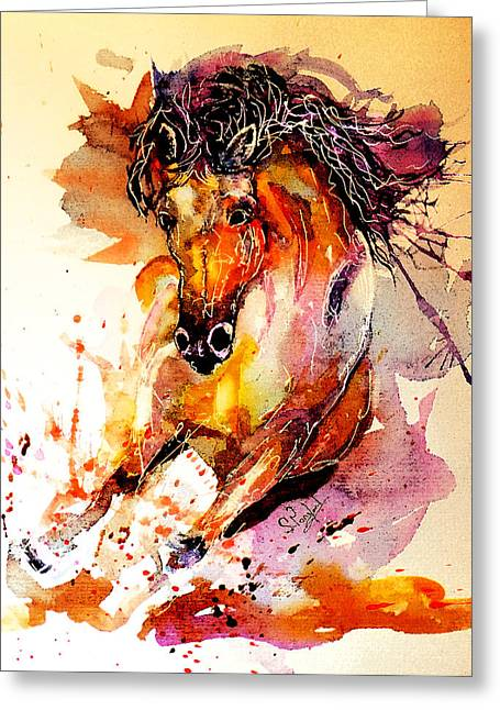 Galloping Horse Greeting Card by Steven Ponsford