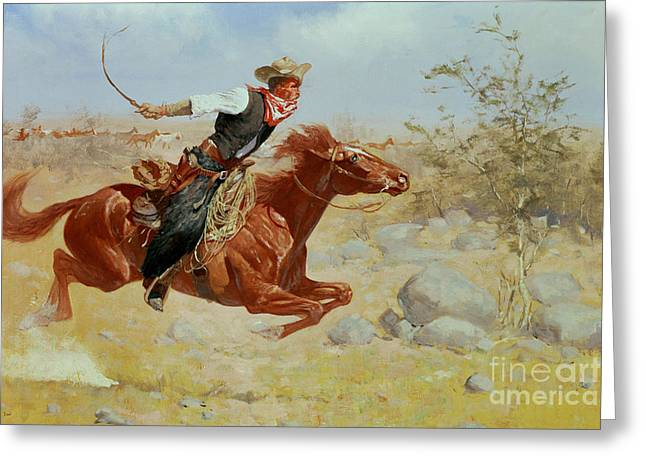 Horseman Greeting Cards - Galloping Horseman Greeting Card by Frederic Remington