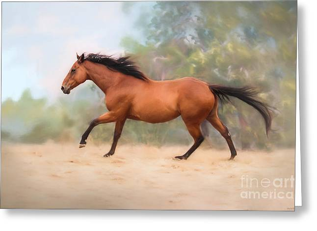 Galloping Thoroughbred Horse Greeting Card by Michelle Wrighton