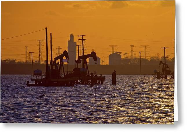 Galveston Bay Oil Pumpers Greeting Card