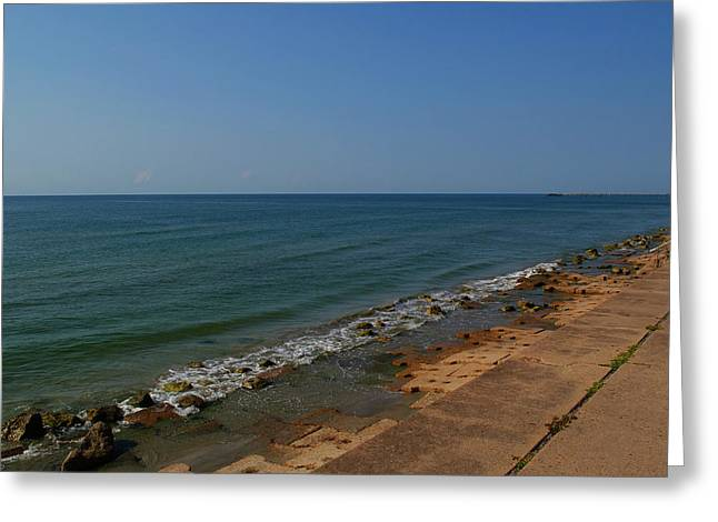 Greeting Card featuring the photograph Galveston Beach At The Seawall by Tikvah's Hope