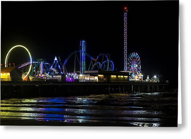 Galveston Island Historic Pleasure Pier At Night Greeting Card