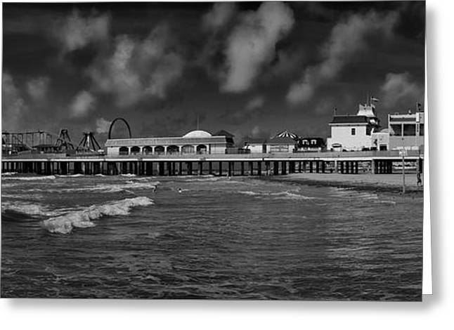 Greeting Card featuring the photograph Galveston Pleasure Pier Black And White by Joshua House