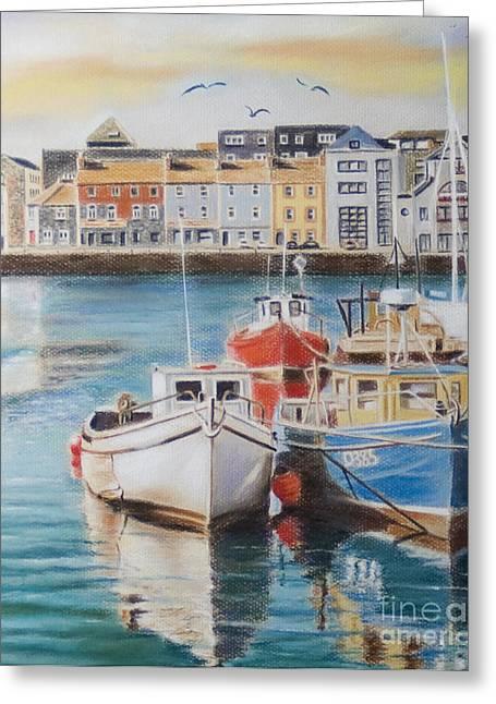 Galway Harbour Greeting Card by Vanda Luddy