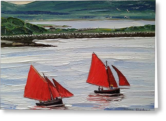 Galway Hookers Sailing By Roundstone Harbour Connemara Ireland Greeting Card