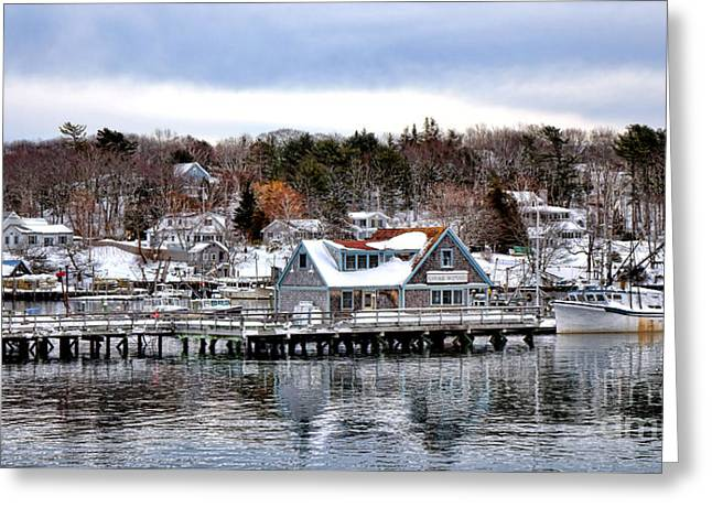 Gamage Shipyard In Winter Greeting Card by Olivier Le Queinec
