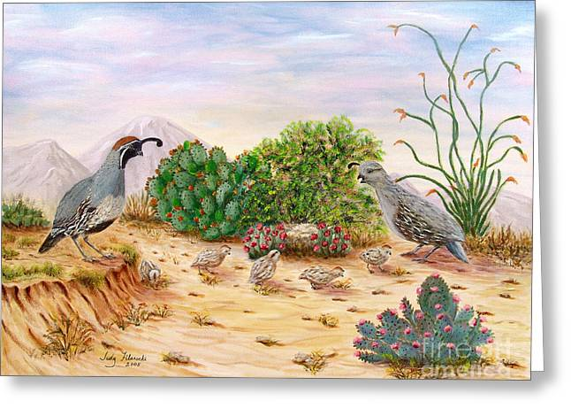 Southwestern Art Greeting Cards - Gambel Quails Day in the Life Greeting Card by Judy Filarecki