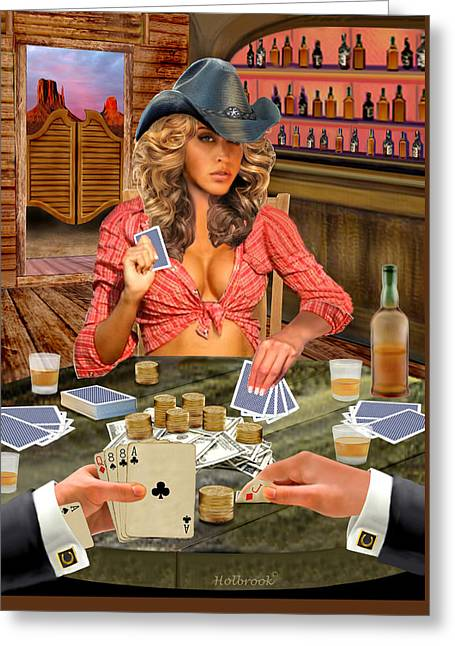 Gamblin' Cowgirl Greeting Card