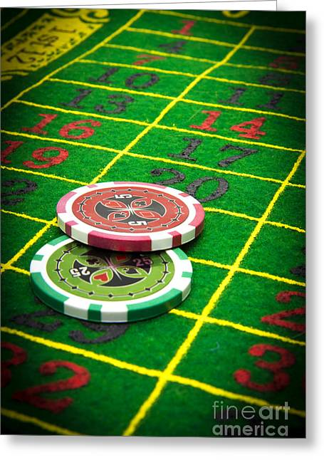 Gambling Chips Greeting Card by Bernard Jaubert