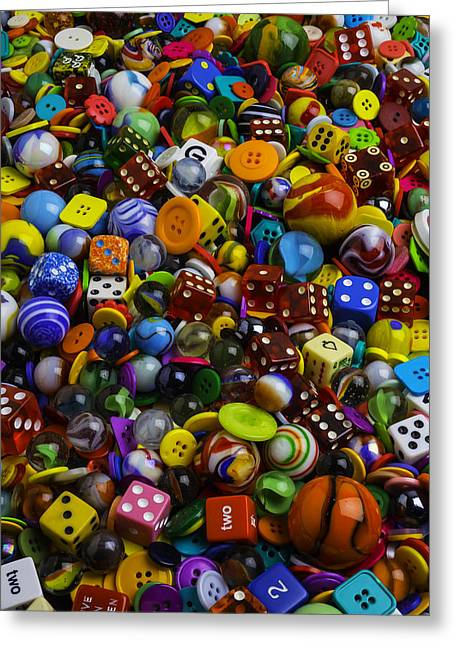Game Dice Marbles And Buttons Greeting Card by Garry Gay