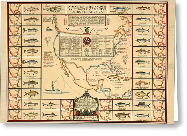 Game Fishing Chart Of North America - Game Fish Varieties - Illustrated Map For Anglers Greeting Card