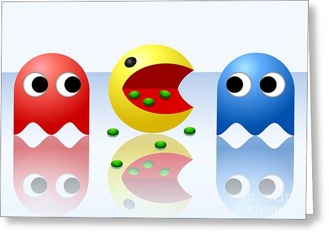 Game Ghost Monsters Pac-man Greeting Card