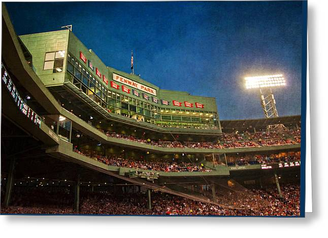 Game Night Fenway Park - Boston Greeting Card by Joann Vitali