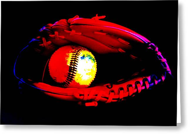 Softball Mitt Greeting Cards - Game night Greeting Card by Lj Lambert