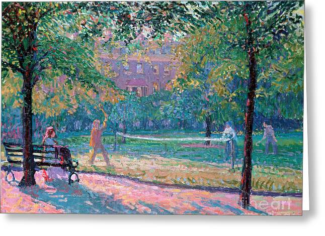 Racquet Paintings Greeting Cards - Game of Tennis Greeting Card by Spencer Frederick Gore