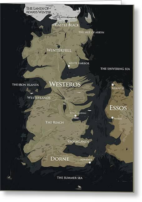 Game Of Thrones Map Greeting Card by Semih Yurdabak