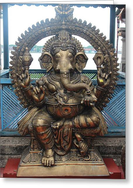 Ganapati Bronze Statue, Fort Kochi Greeting Card by Jennifer Mazzucco