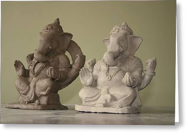 Ganapati Idols Greeting Card by Mandar Marathe