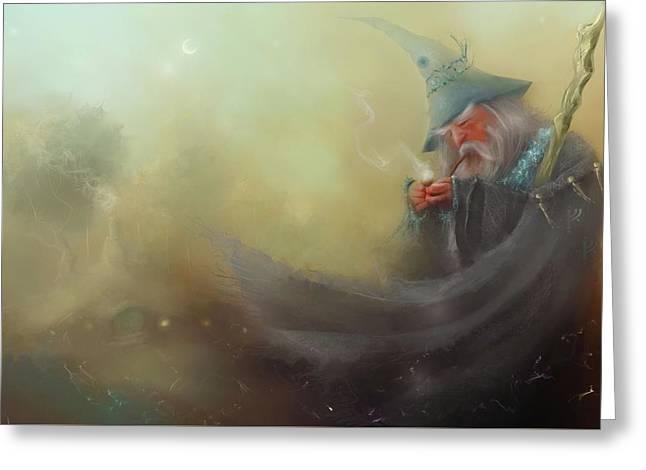 Gandalf Pipe Weed Greeting Card by Joe Gilronan