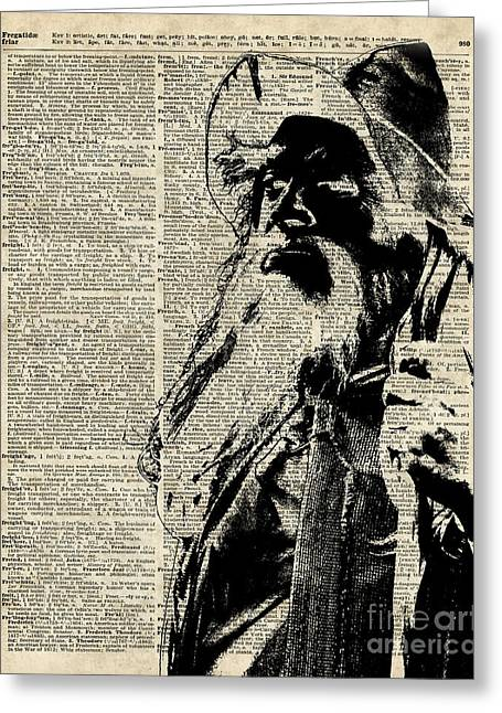 Gandalf Wizard Over Vintage Encyclopedia Book Page,lord Of The Rings,hobbit,tolkien Greeting Card by Jacob Kuch