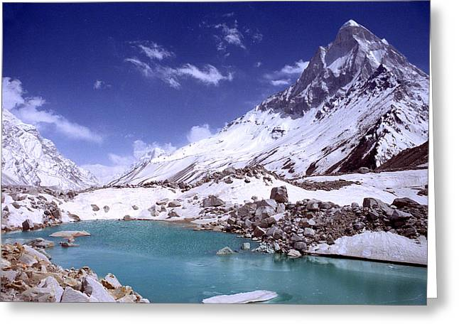 Gandharva Tal And Mount Shivaling Greeting Card by Sam Oppenheim