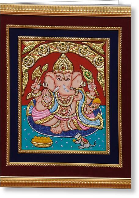 Ganesh Ji Tanjore Art Greeting Card by Vimala Jajoo