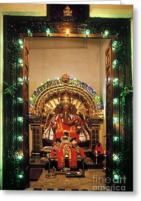 Greeting Card featuring the photograph Ganesh Shrine by Granger