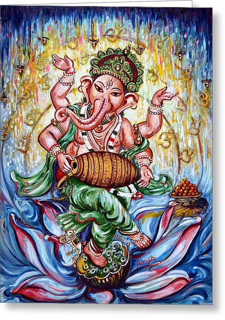 Ganesha Dancing And Playing Mridang Greeting Card