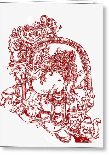 Ganesha Line Drawing Greeting Card
