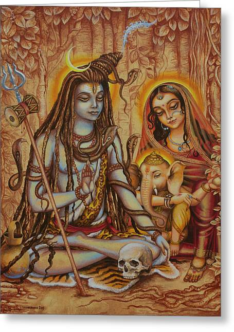 Ganesha Parvati Mahadeva Greeting Card