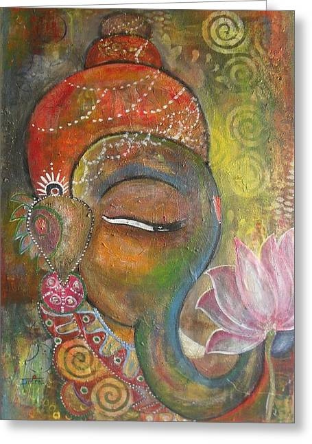 Ganesha With A Pink Lotus Greeting Card by Prerna Poojara