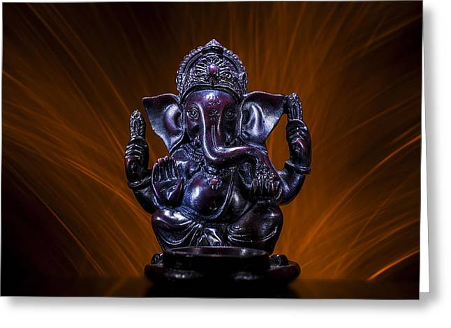 Ganesha With Fire Background Greeting Card by Pelo Blanco Photo