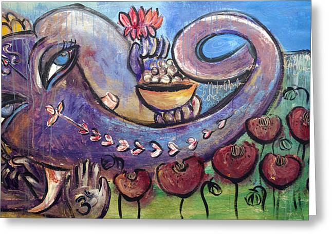 Ganesha With Poppies Greeting Card