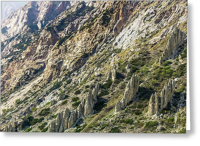 Gangotri Valley Eroded Landscape Greeting Card by Nila Newsom