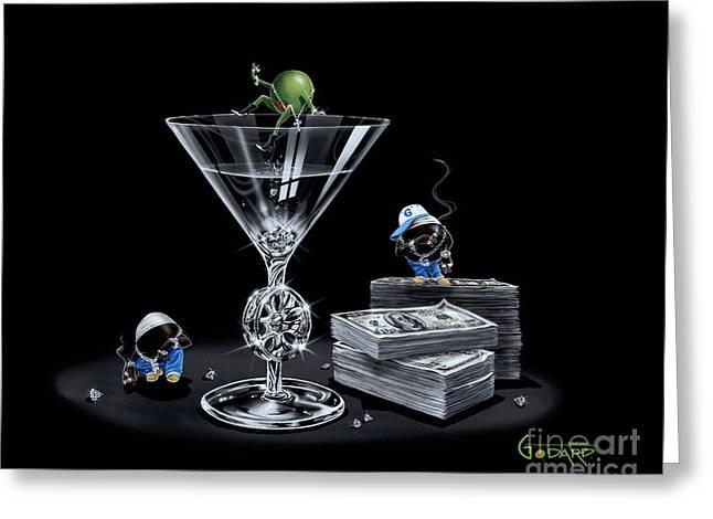 Gangsta Martini Livin' Large Greeting Card