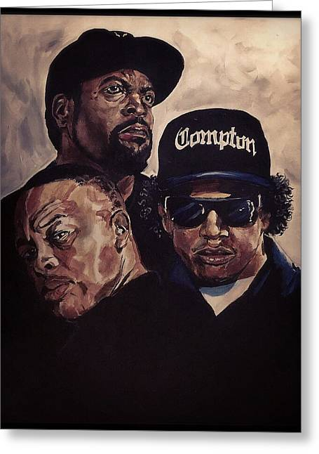 Greeting Card featuring the painting Gangsta Trinity by Joel Tesch