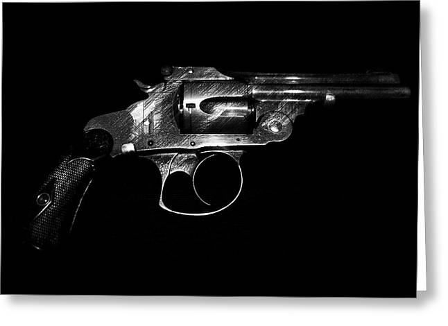 Greeting Card featuring the mixed media Gangster Gun by Daniel Hagerman