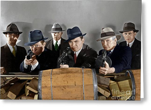 Greeting Card featuring the photograph Gangsters by Granger