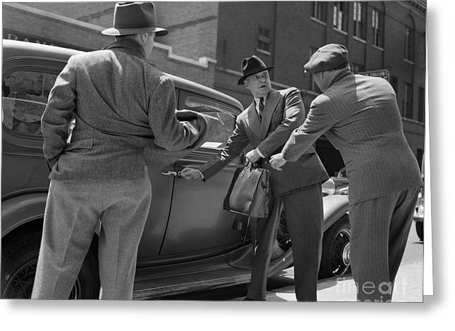 Gangsters Holding Up Man, C.1940s Greeting Card by H. Armstrong Roberts/ClassicStock