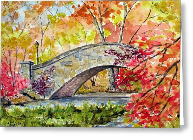 Gapstow Bridge In November Greeting Card by Chris Coyne