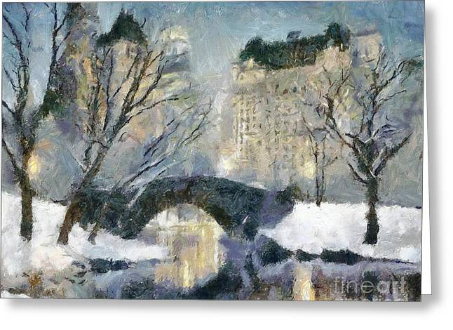 Gapstow Bridge In Snow Greeting Card