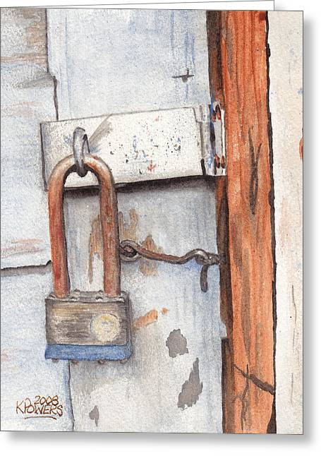 Garage Lock Number One Greeting Card by Ken Powers