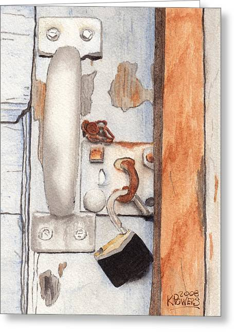 Garage Lock Number Three Greeting Card by Ken Powers